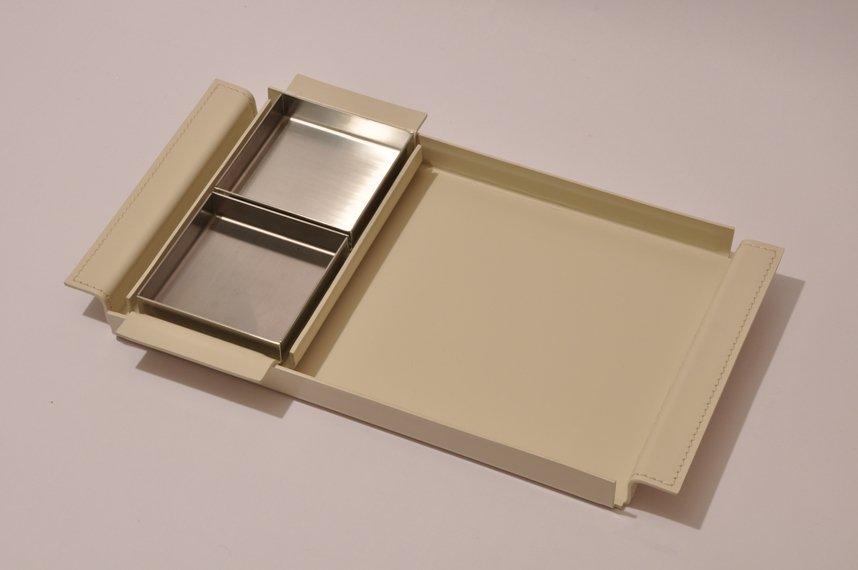 vassoio cuoio bianco composizione